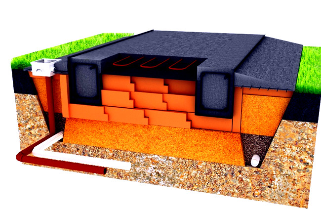 Дренаж монолитной плиты  Фундамент дома из монолитной плиты drenazh monolitnoj plity