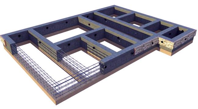 Схема арматурного каркаса и подушки ленточного фундамента  Правильный ленточный фундамент для дома lentochnyj fundament dlya doma